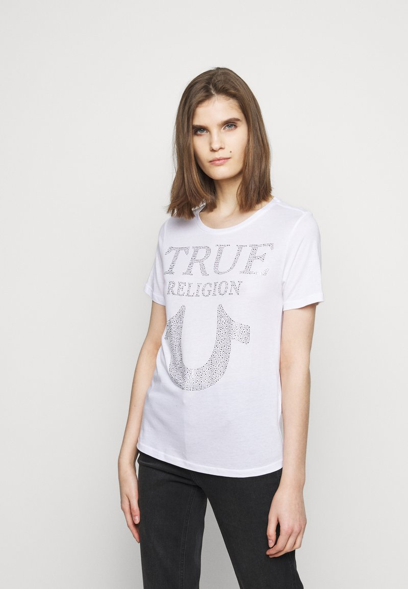 True Religion - CREW NECK - Triko spotiskem - white