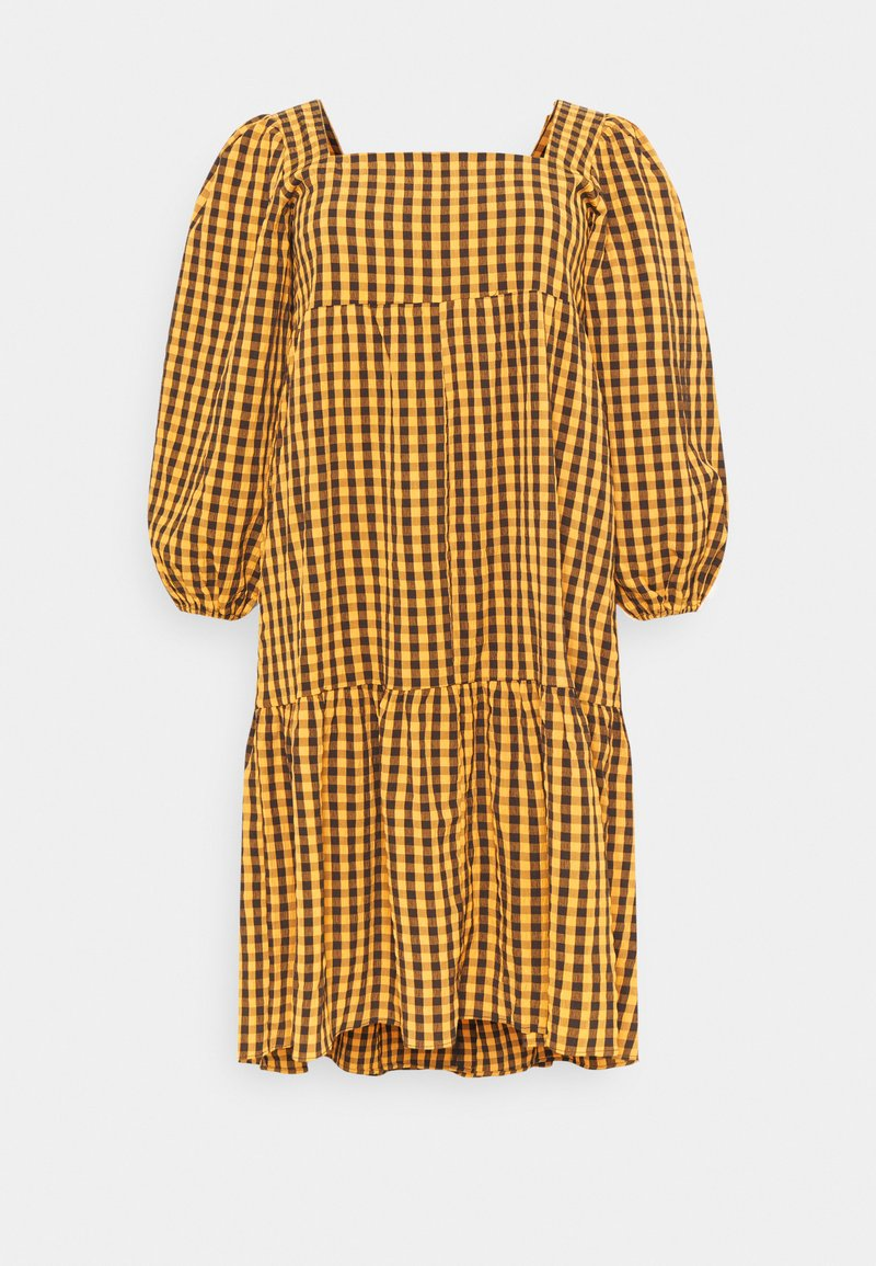 Missguided Plus - GINHAM SQUARE NECK SMOCK DRESS - Day dress - rust