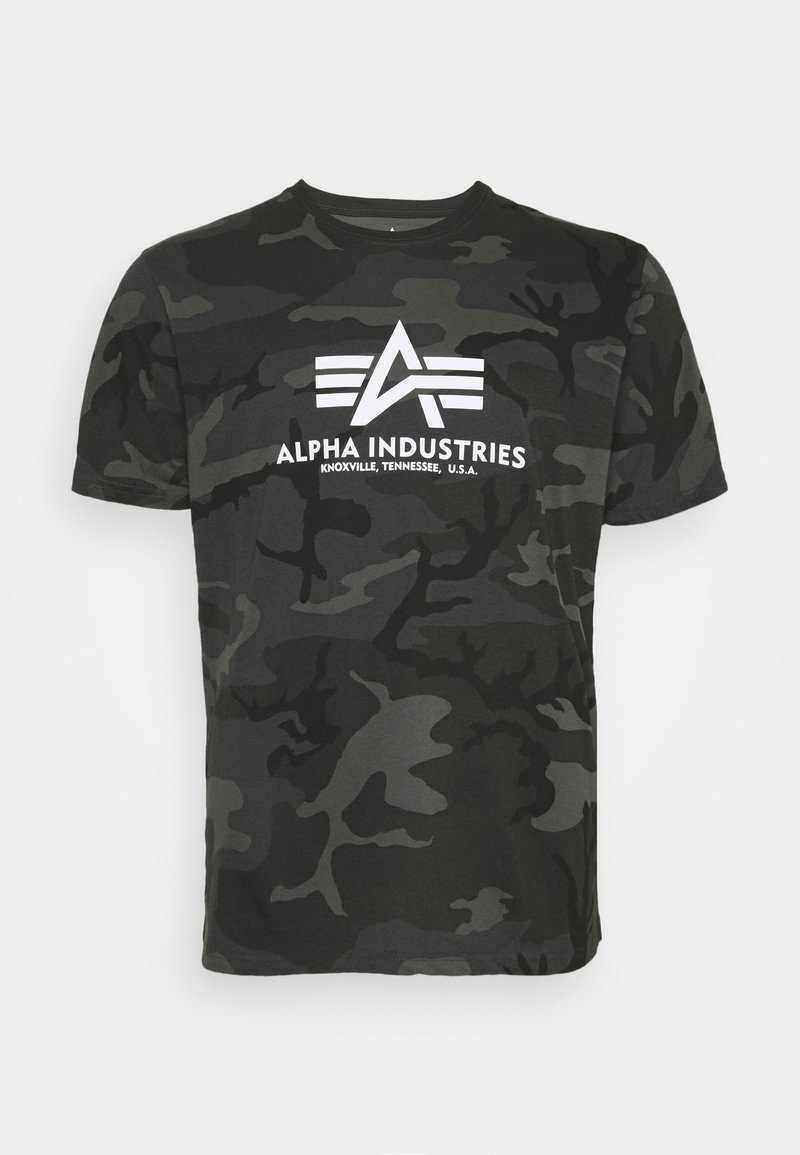 Alpha Industries - BASIC CAMO - Print T-shirt - black