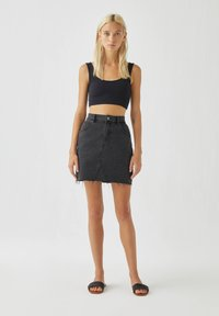 PULL&BEAR - A-line skirt - black denim - 1