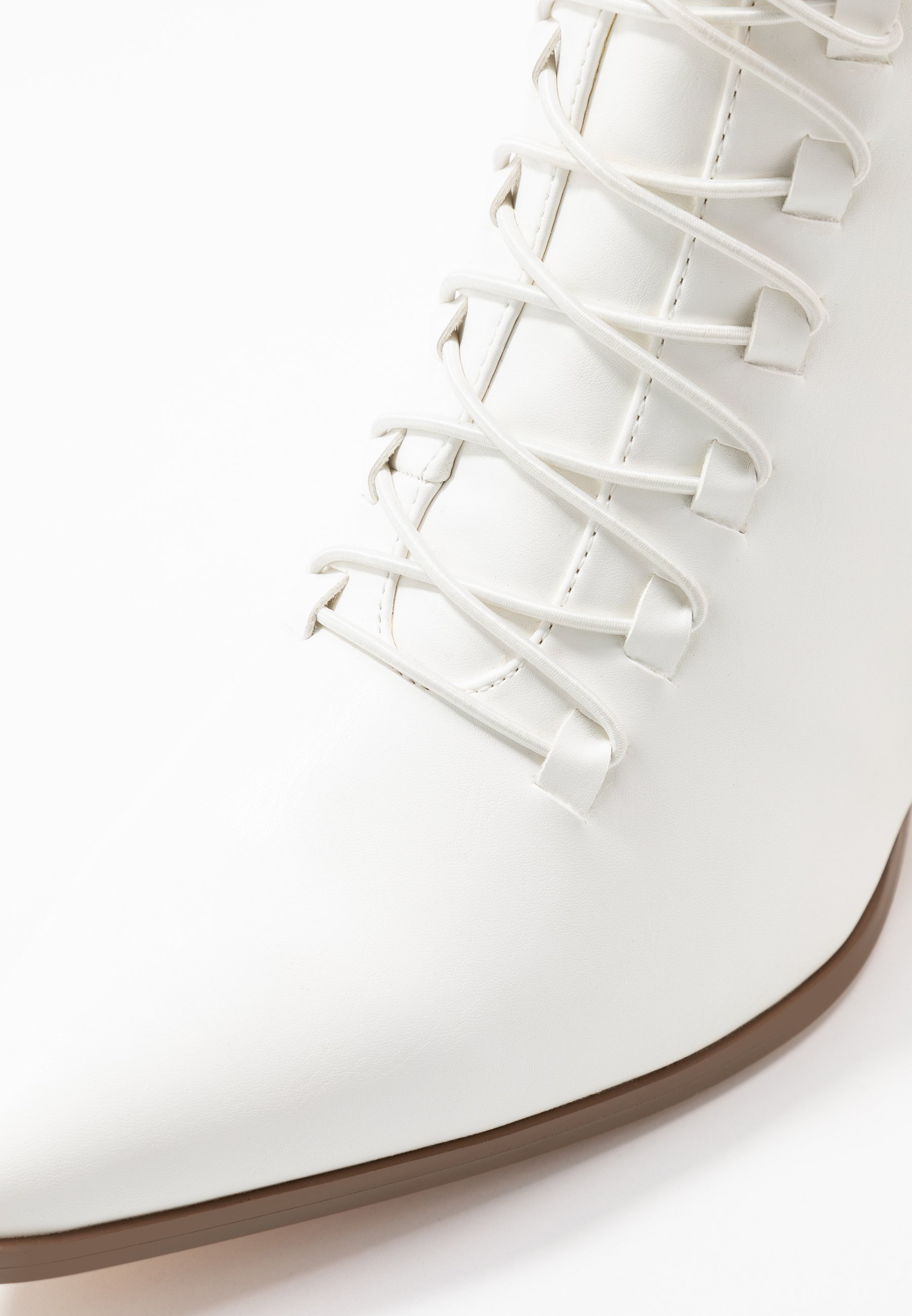 NAKD POINTY LACE UP BOOTIES Schnürstiefelette white/weiß