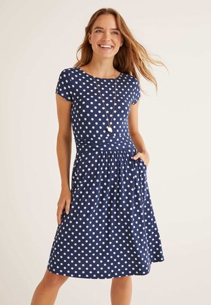 AMELIE  - Jersey dress - navy, lineare boden-tupfen