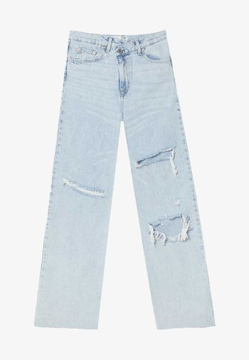 MIT ASYMMETRISCHEM BUND  - Straight leg jeans - light blue