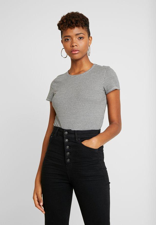 BASIC CREW BABY TEE GINGHAM - Camiseta estampada - black