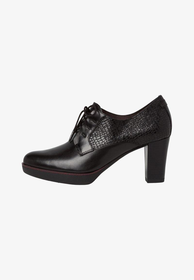 Tamaris - Lace-up heels - black struct.
