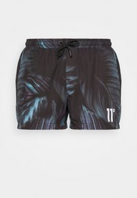 11 DEGREES - TROPICAL PRINT SWIM SHORT - Šortky - black/green/purple - 4