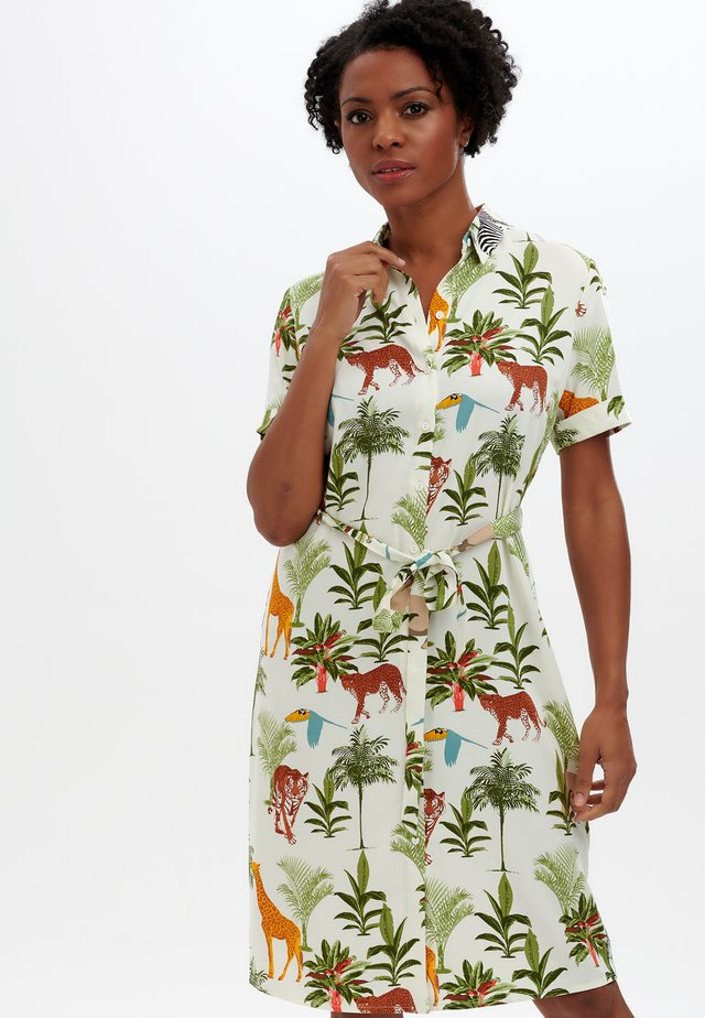 SHIRT DRESS JUSTINE JUNGLE ANIMALS - Sukienka koszulowa - cream