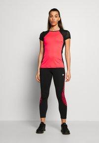 Lotto - VABENE CAPRI  - Leggings - all black/red fluo - 1