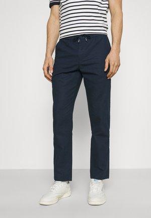 ELASTIC WAIST PANTS - Trousers - navy