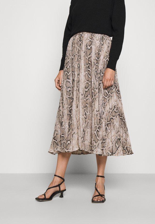 PLEATED SNAKE SKIRT - A-line skirt - dune