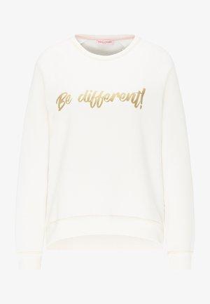 SWEATSHIRT MIT GLÄNZENDEM SCHRIFTZUG - Sweatshirt - off white