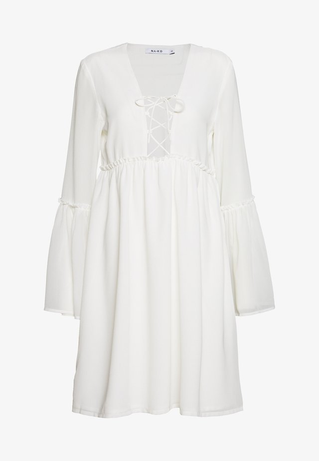 LACE UP FLOWY DRESS - Day dress - white