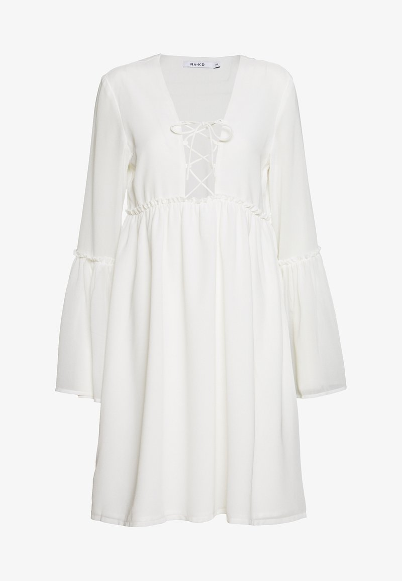 NA-KD - LACE UP FLOWY DRESS - Robe d'été - white