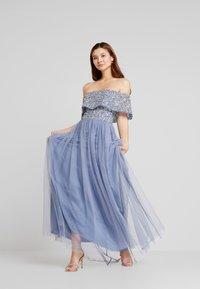 Maya Deluxe - OVERSIZED BARDOT HIGH LOW DRESS - Occasion wear - dusty blue - 2