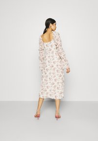 Missguided - FLORAL FRILL SHOULDER TIE DRESS - Day dress - cream - 2