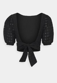 Glamorous - PUFF SLEEVE CROP WITH FRONT TIE - Blouse - black - 1
