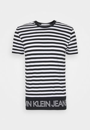 OUTLINE LOGO STRIPED TEE - Print T-shirt - black