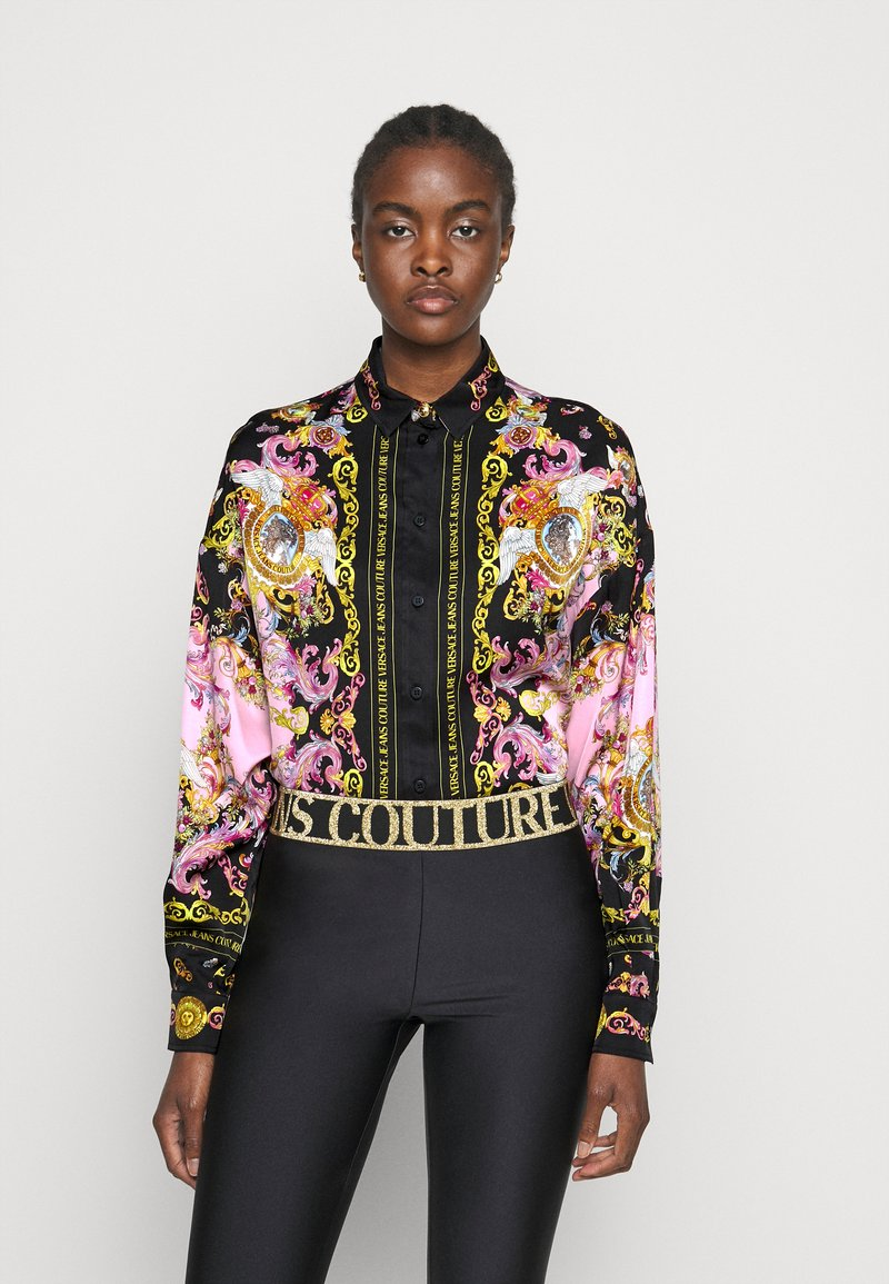 Versace Jeans Couture - LADY SHIRT - Button-down blouse - black/pink confetti