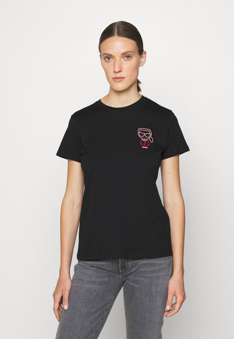 KARL LAGERFELD - IKONIK OUTLINE TEE - T-Shirt print - black