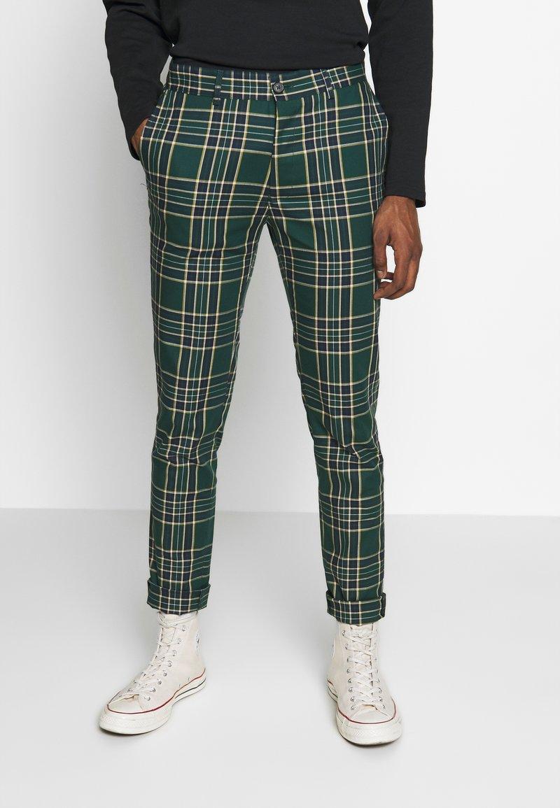 Topman - CHECK - Kalhoty - green
