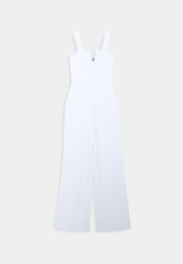 V PLUNGE WIDE LEG - Jumpsuit - white