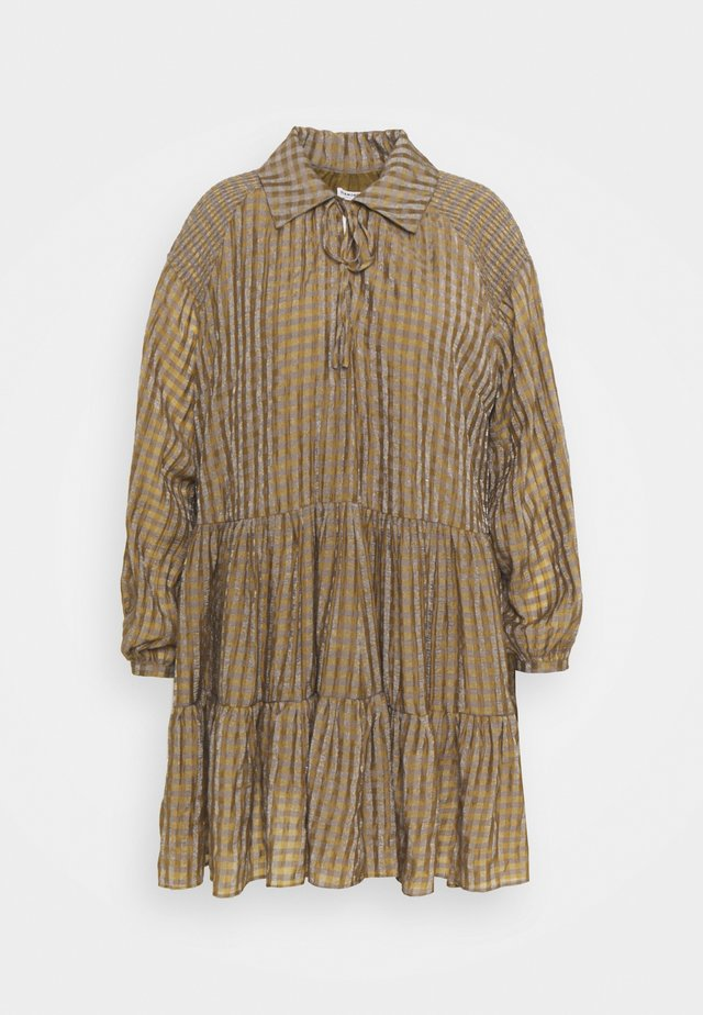 SMOCK DRESS WITH LONG SLEEVES - Day dress - olive