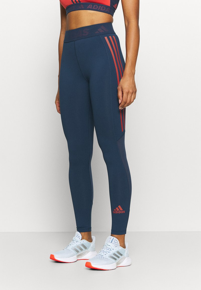 adidas Performance - TECHFIT STRIPES LONG - Leggings - crew navy/crew red