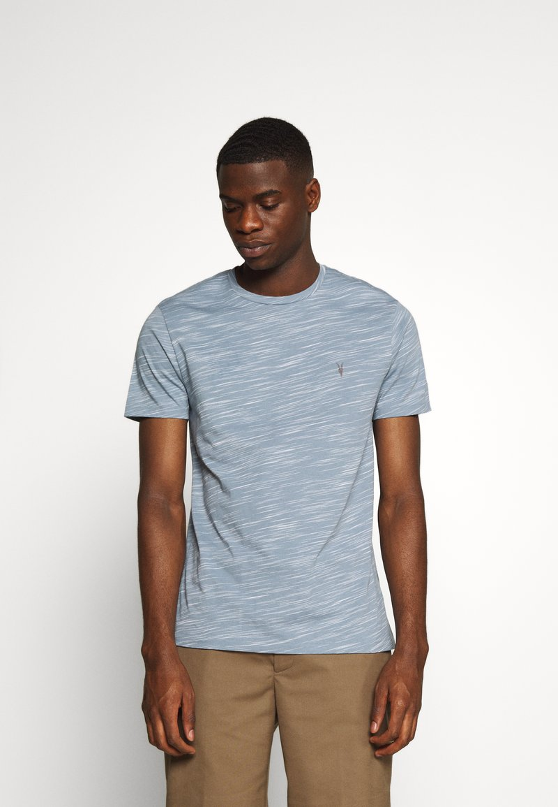 AllSaints - OWEN CREW - Print T-shirt - enamel blue
