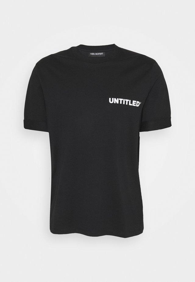 UNTITLED SLIM ROLLED UP - T-shirt - bas - black/white
