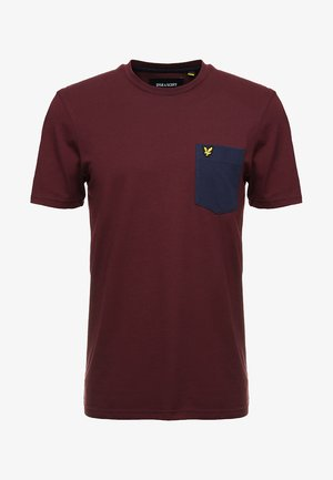 CONTRAST POCKET - Print T-shirt - burgundy/navy