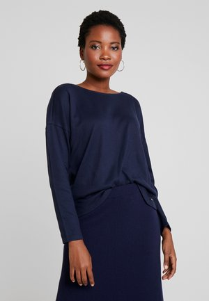 COZY TEE WITH CONTRAST BOW - Long sleeved top - real navy blue