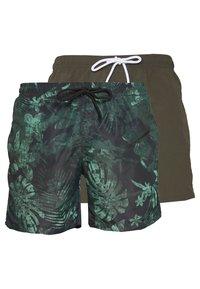 Urban Classics - JUNGLE FLOWER SWIM 2 PACK - Shorts da mare - olive/black - 0
