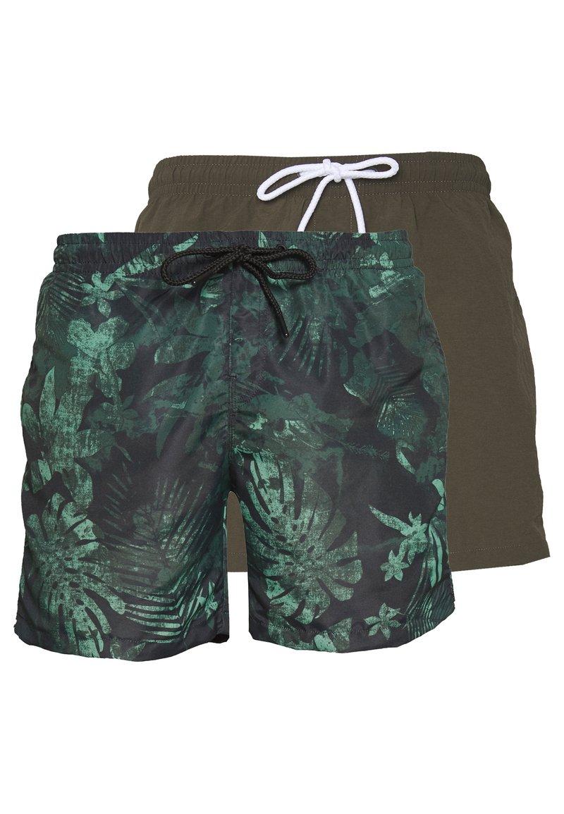Urban Classics - JUNGLE FLOWER SWIM 2 PACK - Shorts da mare - olive/black