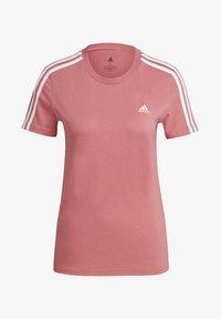 adidas Performance - ESSENTIALS SLIM 3-STRIPES T-SHIRT - Printtipaita - pink - 5