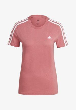 ESSENTIALS SLIM 3-STRIPES T-SHIRT - Camiseta estampada - pink