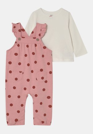 OVERALL DOT SET - Dungarees - light pink/off-white