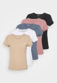 5 PACK - Basic T-shirt - white/tan/rose/blue/black