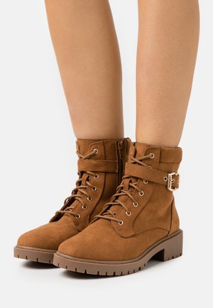 WIDE FIT MONA LACE UP - Lace-up ankle boots - tan