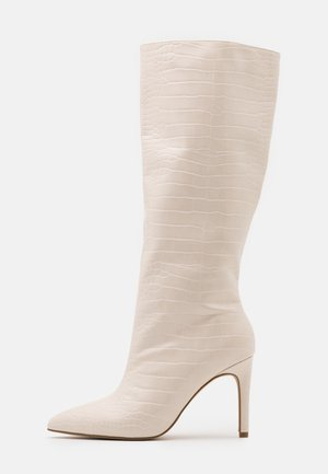 CROC MID STILETOE TUBULAR BOOTS - High heeled boots - cream