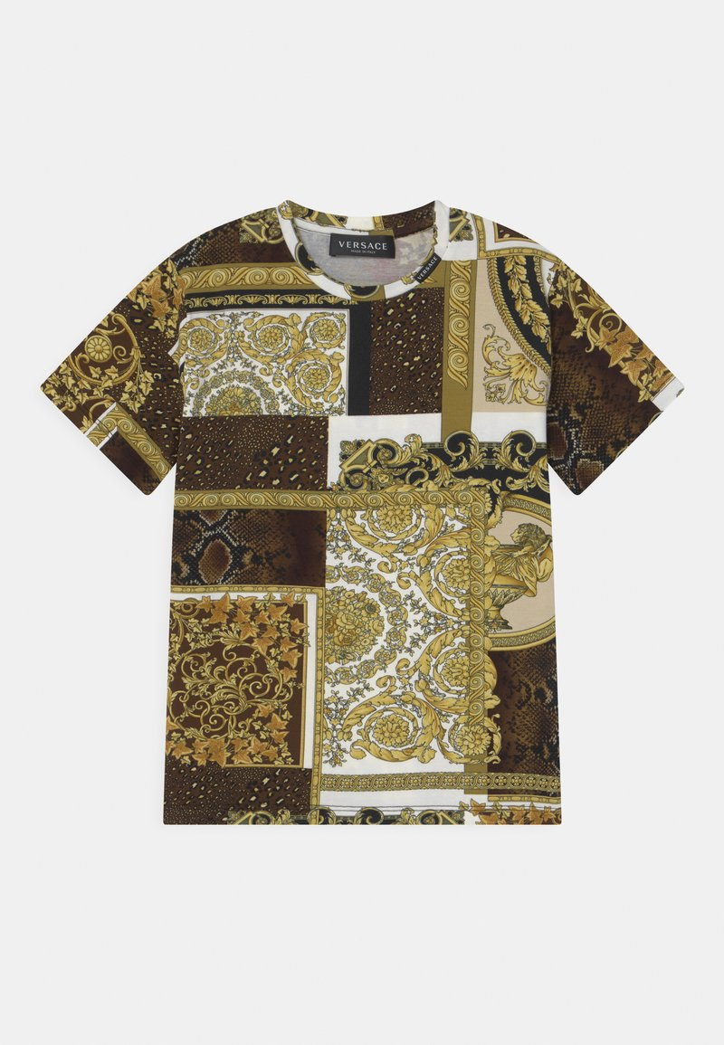 Versace - PATCHWORK HERITAGE UNISEX - Print T-shirt - gold/brown/white