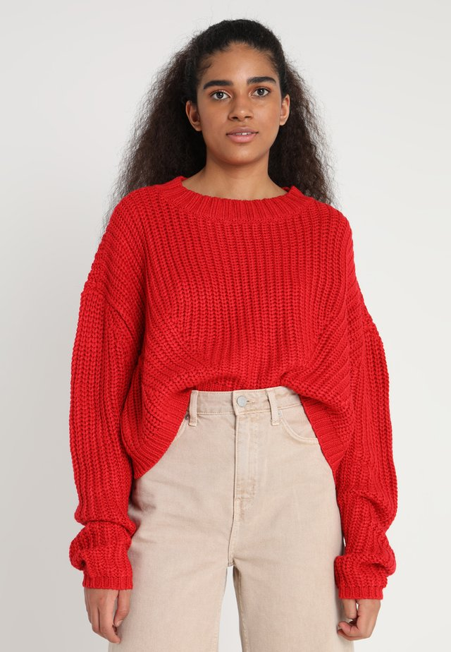 LADIES WIDE OVERSIZE  - Strikpullover /Striktrøjer - firered
