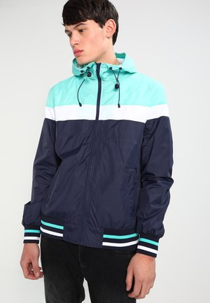 HOODED COLLEGE WINDBREAKER - Giacca leggera - navy/mint/white