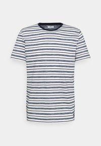 STRIPED - Print T-shirt - offwhite/navy