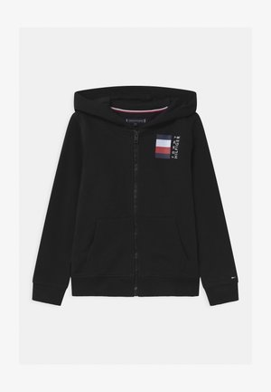 GLOBAL STRIPE HOODED  - Felpa aperta - black