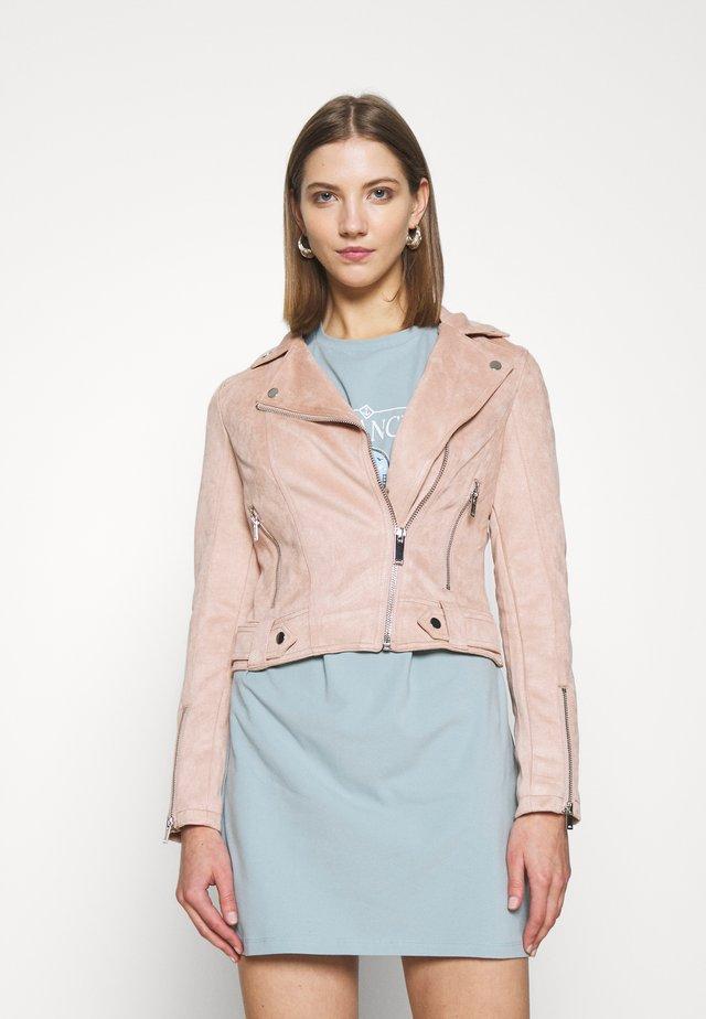 BIKER - Faux leather jacket - pink