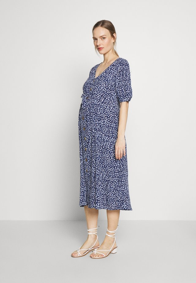 BEA MIDI TUCK TIE DRESS - Jerseykjole - navy floral