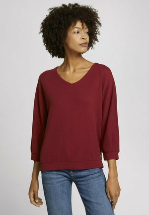 LOOSE MIT STRUKTUR - T-shirt à manches longues - dark maroon