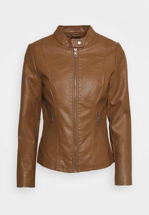 ONLMELISA FAUX JACKET - Faux leather jacket - cognac