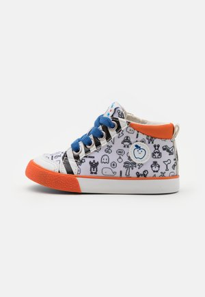 ZIP BASKET - High-top trainers - white/black/orange