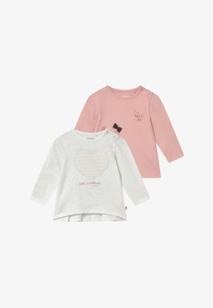 2 PACK - Long sleeved top - off-white/light pink